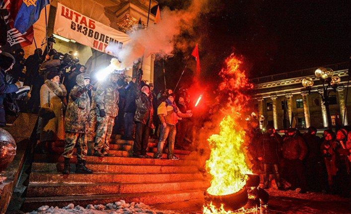 Участники акции, посвященной годовщине начала событий на Майдане