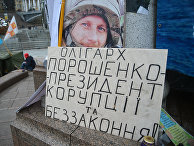 Плакат с надписью «Олигарх Порошенко - президент коррупции и беззакония»
