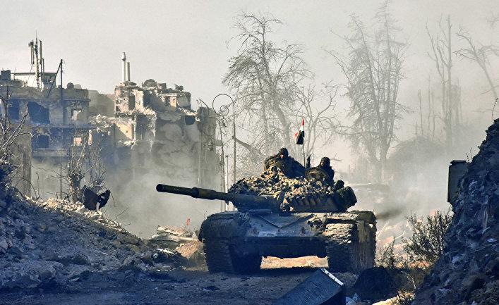 Танк правительственных войск Сирии в Алеппо. 8 декабря 2016