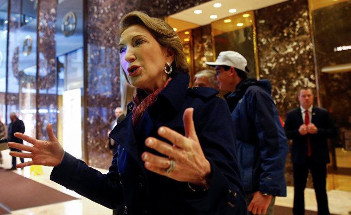 Экс-кандидат в президенты США от республиканской партии Карли Фиорина в холле Trump Tower
