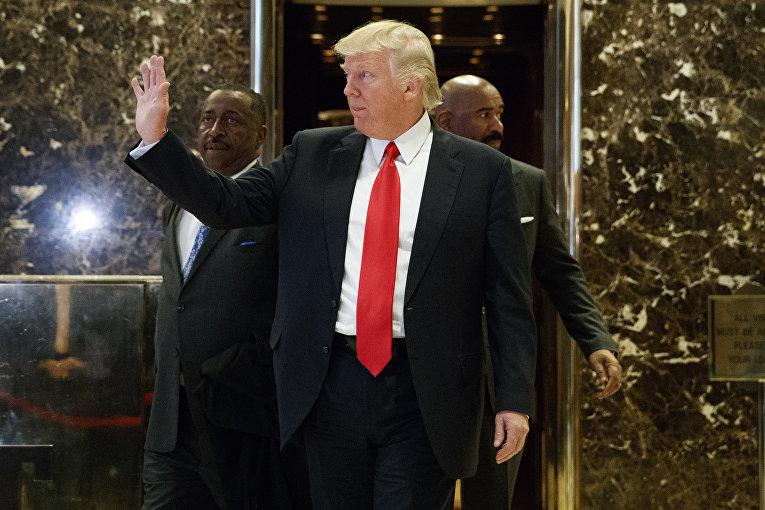 Избранный президент США Дональд Трамп в вестибюле башни Трампа