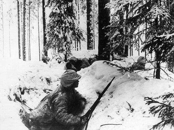 Финские солдаты в окопах