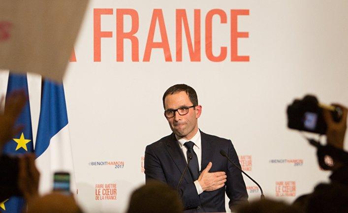Бенуа Амон после объявления результатов второго тура праймериз в Париже