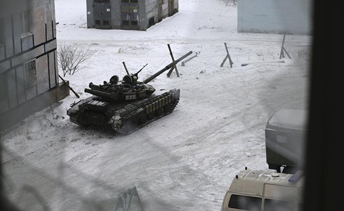 Танк ВСУ в Авдеевке, Украина. 2 февраля 2017