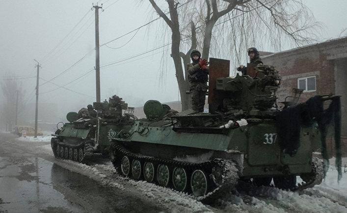 Бронетехника ВСУ в Авдеевке, Украина. 4 февраля 2017
