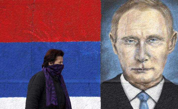Граффити с изображением Владимира Путина в пригороде Белграда