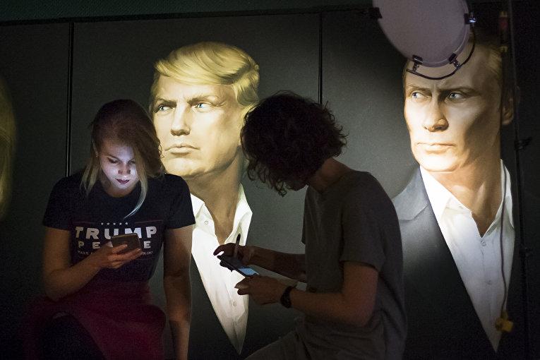 Мария Катасонова во время прямой трансляции президентских выборов в США