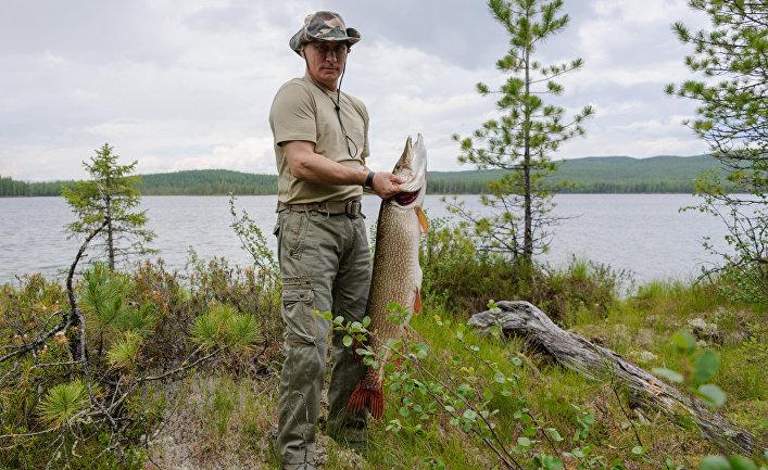 Президент России Владимир Путин во время рыбалки в Красноярском крае