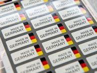 Наклейки «Сделано в Германии» на одном из заводов