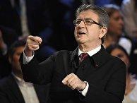 Лидер «Непокорившейся Франции», кандидат в президенты страны Жан-Люк Меланшон на теледебатах