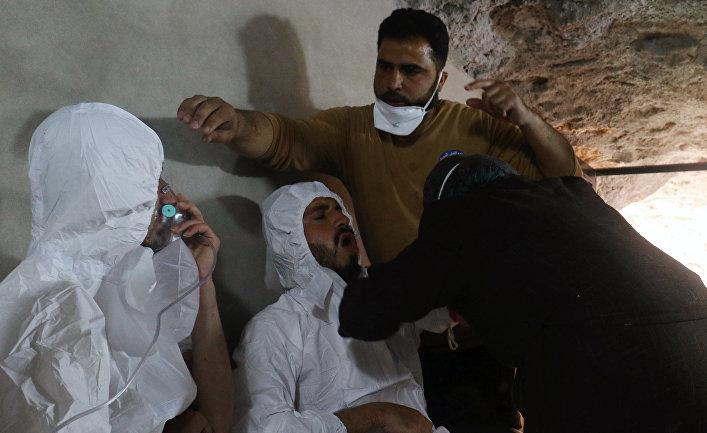 Последствия газовой атаки в сирийском Идлибе