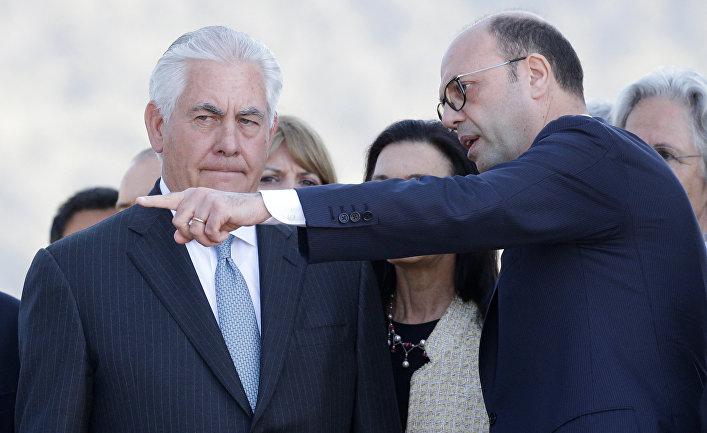 Министр иностранных дел Италии Анджелино Альфано и соссекретарь США Рекс Тиллерсон в Италии