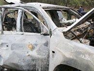 Место подрыва автомобиля сотрудников патруля Специальной мониторинговой миссии ОБСЕ на Украине в районе населенного пункта Пришиб в Луганской области