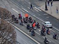 «Ночные волки» освятили мотоциклы возле Исаакиевского собора в Санкт-Петербурге
