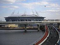 Болельщики на мосту к стадиону «Санкт-Петербург Арена»