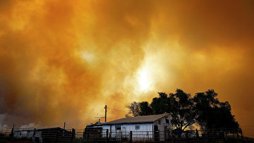 Природный пожар в штате Колорадо, США