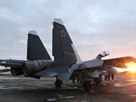 Многоцелевой истребитель СУ-30СМ, пополнивший состав морской авиации Балтийского флота, на аэродроме в городе Черняховск Калининградской области