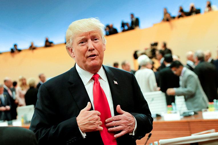Президент США Дональд Трамп на рабочем заседании на саммите G-20 в Гамбурге