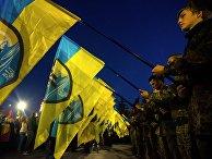 Участники марша по случаю 72-й годовщины образования Украинской повстанческой армии в Харькове