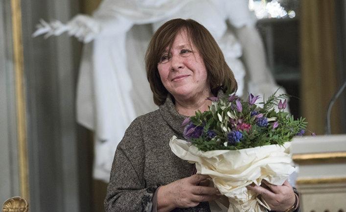 Белорусская писательница Светлана Алексиевич в Стокгольме