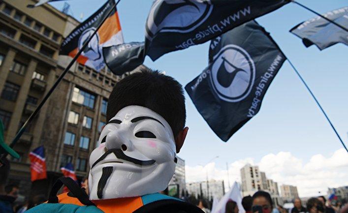 23июля 2017. Участник намарше «Засвободный интернет» вМоскве