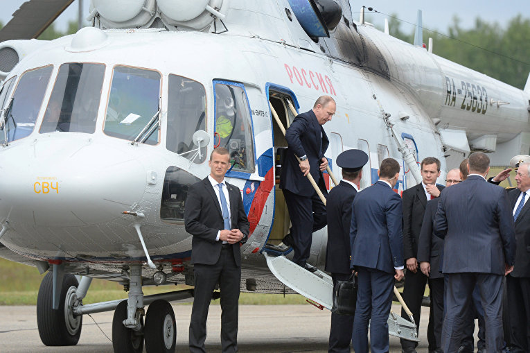 Президент России Владимир Путин в аэропорт Савонлинна в Финляндии