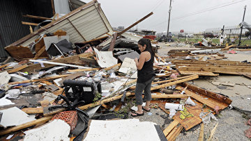 Последствия урагана Харви в Кэти, штат Техас, США. 26 августа 2017