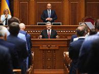 Президент Украины Петр Порошенко во время выступления на заседании Верховной рады Украины в Киеве.