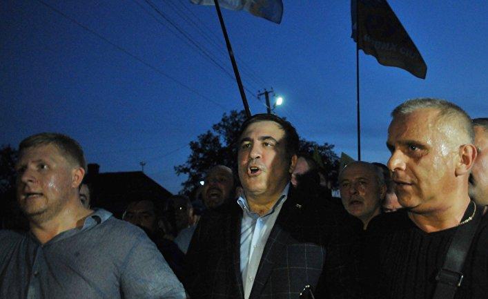 """Михаил Саакашвили у пункта пропуска """"Шегени"""" на украинско-польской границе. 10 сентября 2017"""