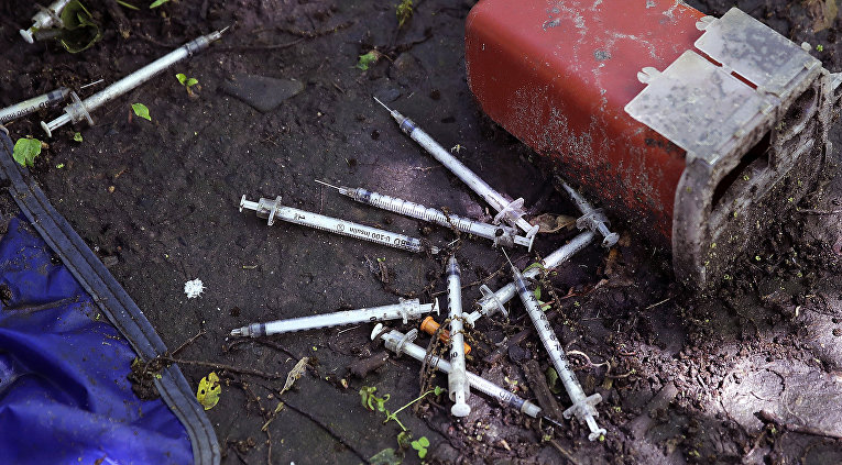 Использованные шприцы в городе Лоуэлле, США