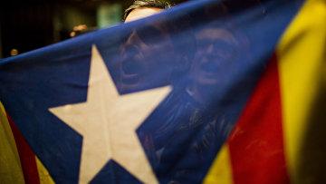 Сторонники независимости Каталонии празднуют результаты неофициального референдума, ноябрь 2014 года