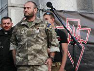 Дмитрий Ярош на митинге «Правого сектора» (запрещено в РФ) в центре Киева