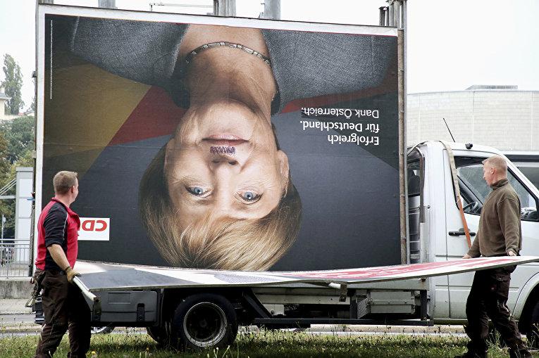 Канцлер Германии Ангела Меркель на предвыборном плакате