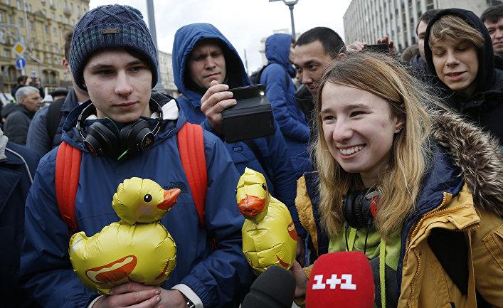 Участники оппозиционного митинга в Москве