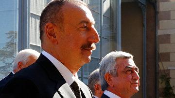 Президент Азербайджана Ильхам Алиев и президент Армении Серж Саргсян в Женеве