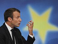 Президент Франции Эммануэль Макрон выступает в университете Сорбонны в Париже