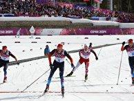 Максим Вылегжанин (Россия), Александр Легков (Россия), Мартин Йонсруд Сундбю (Норвегия) и Илья Черноусов (Россия)