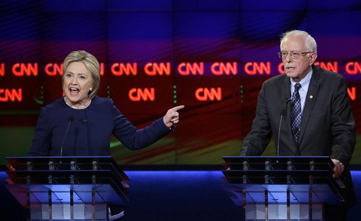 Дебаты кандидатов в президенты от демократической партии Хиллари Клинтон и Берни Сандерса