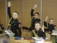 Кадеты на занятиях в лицее в Киеве