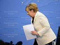 Канцлер Германии Ангела Меркель после заседания Совета Европы в Брюсселе