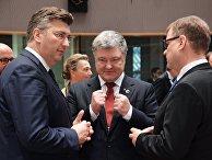 Премьер-министр Хорватии Андрей Пленкович и президент Украины Петр Порошенко на 5-м Саммите Восточного партнерства в Брюсселе. 24 ноября 2017