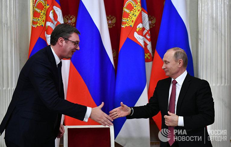 Президент РФ В. Путин встретился с президентом Сербии А. Вучичем