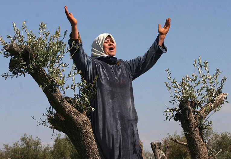 Палестинская женщина, чья земля была конфискована Израилем
