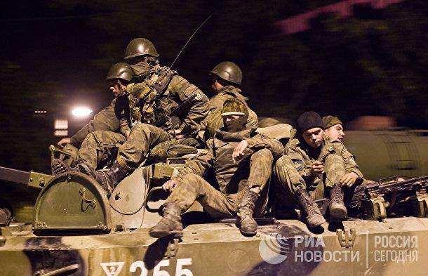 Российские военнослужащие в селе Джава