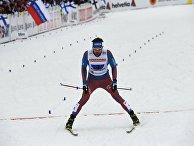 Сергей Устюгов на финише в эстафетной гонке свободным стилем на чемпионате мира в Лахти
