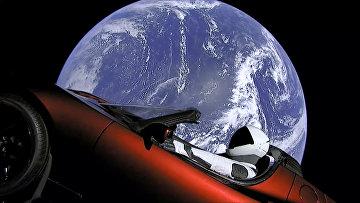 Иллюстрация полета автомобиля «Тесла Роадстер» и манекена на фоне Земли