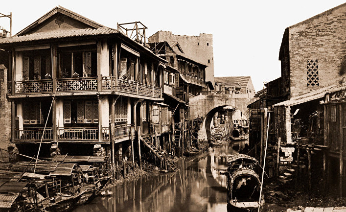 Китайский город Гуанчжоу в 1880 году
