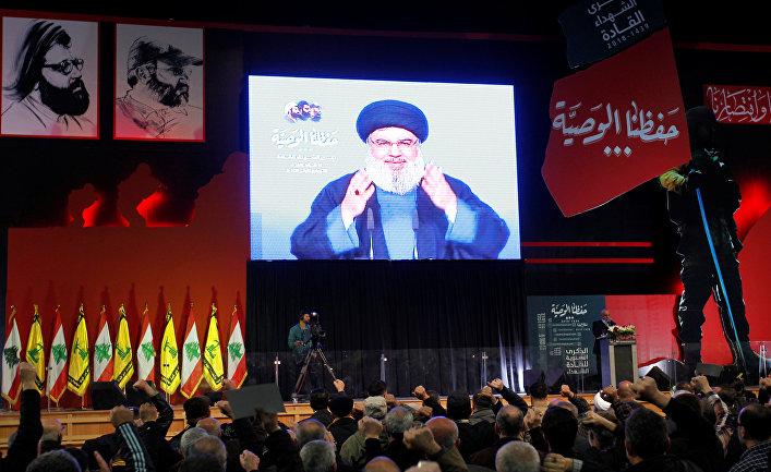 Лидер «Хезболлы» Хасан Насралла обращается к своим сторонникам в Бейруте