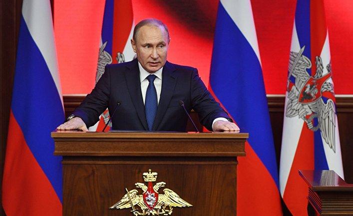 Президент РФ Владимир Путин принимает участие в военно-практической конференции по итогам специальной операции в Сирии в Национальном центре управления обороной РФ. 30 января 2018