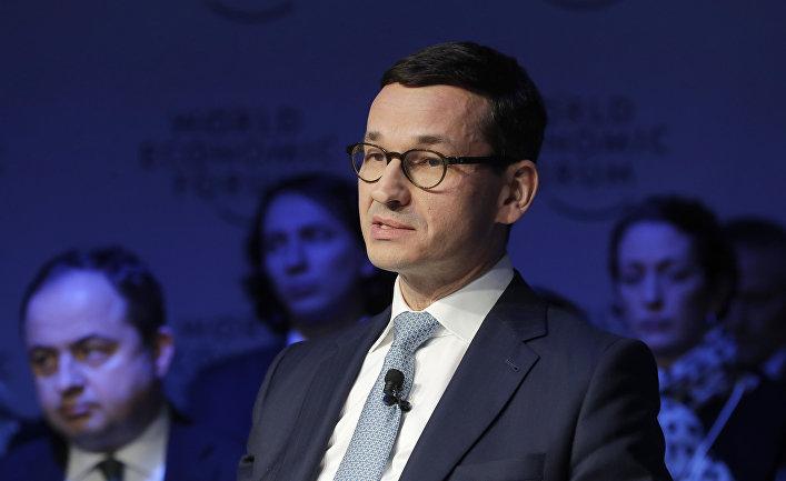 Премьер-министр Польши Матеуш Моравецкий на Всемирном экономическом форуме в Давосе. 27 январня 2018